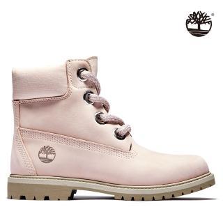 【Timberland】女款淺粉磨砂革經典防水6吋靴(A2Q7H662)