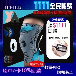 【XA】雙魚鱗防撞型彈簧支撐運動護膝-二入組HX045(防撞護膝、雙魚鱗彈簧支撐、橡膠防撞效能、超強護膝)