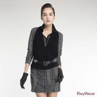 【KeyWear 奇威名品】率性千鳥格假兩件式長袖洋裝