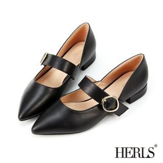 【HERLS】低跟鞋-金釦瑪莉珍側V口尖頭低跟鞋(黑色)/
