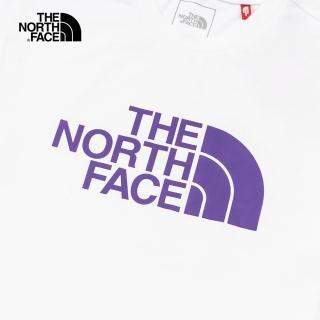 【The North Face】The North Face北面男女款白色紫LOGO短袖T恤|5B3QFN4