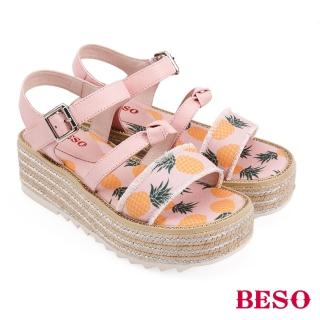 【A.S.O 阿瘦集團】BESO活力俏媽咪派對水果蝴蝶結船台涼鞋(粉紅)