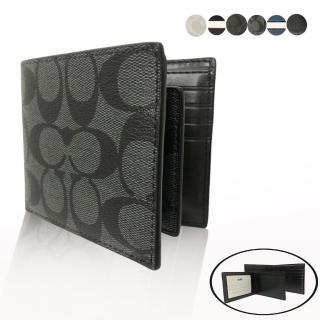 【COACH】經典 LOGO 8卡男款短夾附活動證件夾(多色選一)