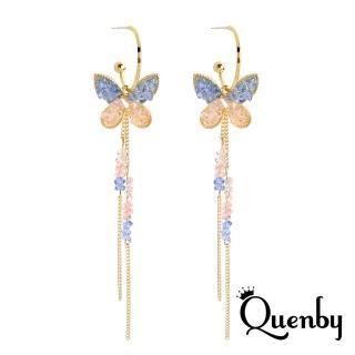 【Quenby】甜美度假風蝴蝶長耳環/耳針(飾品/配件/蝴蝶)