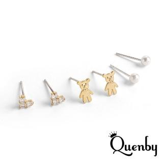 【Quenby】925純銀 俏皮小巧熊熊貼耳6件組耳環/耳針(飾品/配件/熊熊)