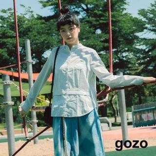 【gozo】拼接手繪街頭開襟半領襯衫(淺藍)