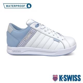 【K-SWISS】格紋防水時尚運動鞋 Lundahl WP-女-白/粉藍(96100-178)