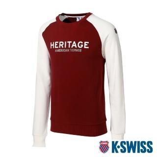 【K-SWISS】圓領長袖上衣 Raglan Sweatshirt-男-酒紅(104652-681)