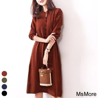 【MsMore】維也納優雅時尚條紋洋裝#107743現貨+預購(4色)
