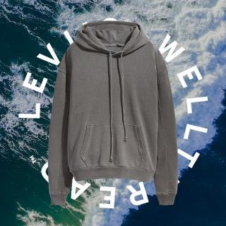 【LEVIS】Wellthread環境友善系列 女款 口袋帽T / 棉麻混紡工法 / 低加工保留布料原始質感-人氣新品