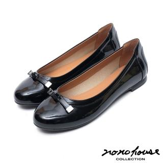 【nono house】甜心女孩經典蝴蝶結牛皮平底娃娃鞋(黑)