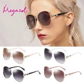 【MEGASOL】UV400防眩偏光太陽眼鏡時尚女仕大框矩方框墨鏡(魅力簍空金屬鑲鑽狐狸框GY-3151-多色選)