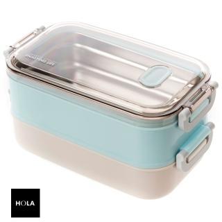 【HOLA】組伊麗絲悶燒罐550ml綠+JH可提式雙層304便當盒 藍