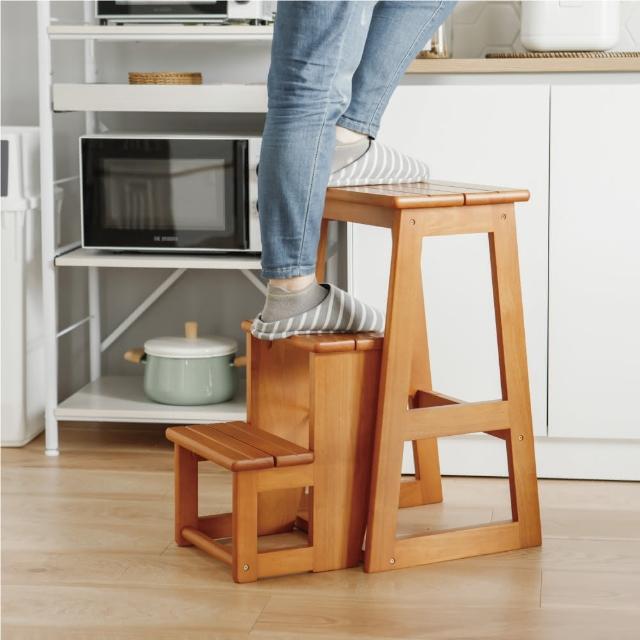 【完美主義】日式實木三層樓梯椅/折疊椅/
