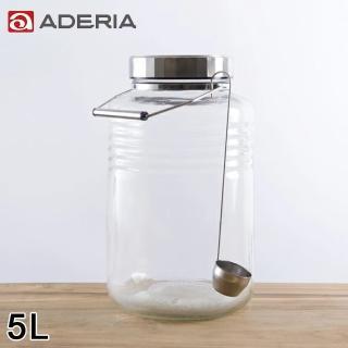 【ADERIA】日本進口時尚玻璃梅酒瓶附勺子5L(醃製 梅酒 日本製)