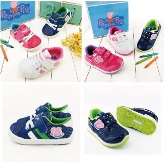 【童鞋城堡】15-19cm 童鞋 魔鬼氈運動鞋 佩佩豬 喬治豬 台灣製(8款任選)