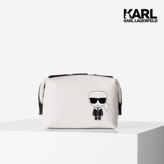 【KARL LAGERFELD 卡爾】IKONIK化妝包-白(原廠公司貨)