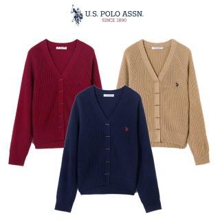 【U.S. POLO ASSN.】女款 開襟羊毛針織外套(3色)