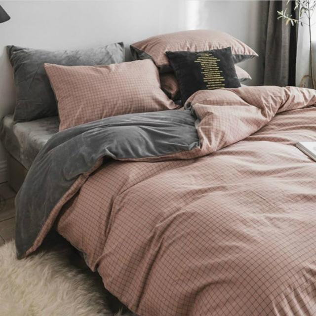 【JEN】棉加絨格紋床單被套枕套組-格粉(單人或雙人床通用)/