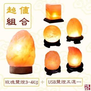 【鹽夢工場】超值組合|玫瑰原礦鹽燈3-4Kg+USB系列五選一(創意造型鹽燈)