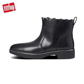 【FitFlop】JACINTA ART STUD ANKLE BOOTS 柔軟皮革拉鍊裸靴-女(靚黑色)