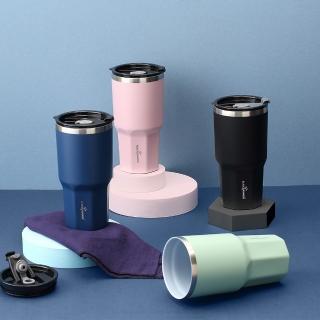 【BLACK HAMMER】陶瓷不鏽鋼保溫保冰晶鑽杯(買1送1)附贈吸管