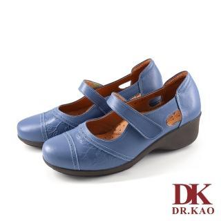 【DK 高博士】休閒牛皮 空氣娃娃女鞋 87-0866-70(藍色)