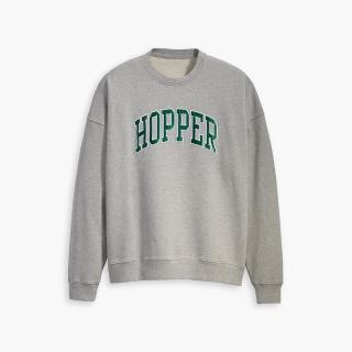【LEVIS】X 怪奇物語限量聯名 / 男女同款 Hopper重磅大學T / 復古寬鬆落肩設計-熱銷單品