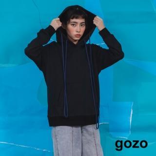 【gozo】連帽撞色變形抽繩帽T(兩色)