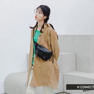 【H:CONNECT】韓國品牌 女裝 -長版燈芯絨連帽襯衫洋裝(駝色)