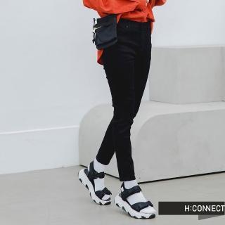 【H:CONNECT】韓國品牌 女裝 -微彈素面合身牛仔褲(黑色)