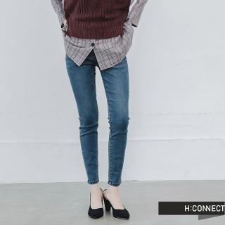 【H:CONNECT】韓國品牌 女裝 -微彈合身刷色牛仔褲(寶藍色)