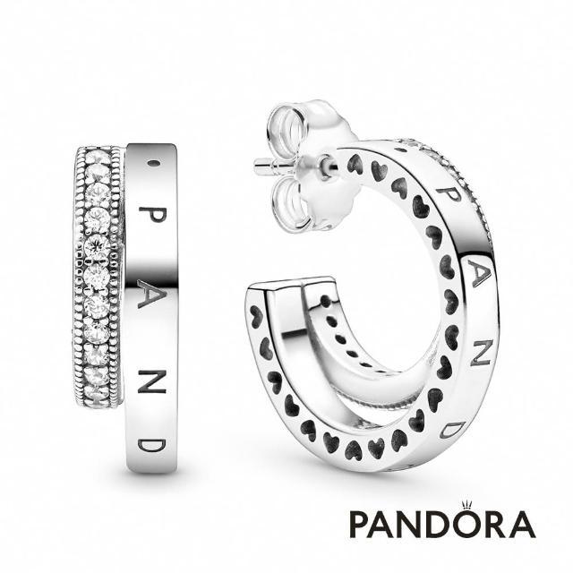 【Pandora官方直營】密鑲寶石雙耳環圈/