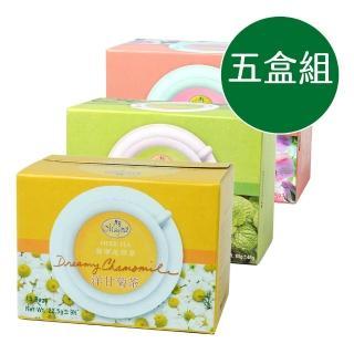 【曼寧】熱銷綜合花草茶五盒組(康福茶2盒+洋甘菊茶2盒+玫瑰花茶1盒/40入/盒)