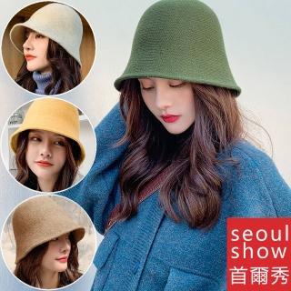 【Seoul Show 首爾秀】羊毛針織小臉水桶帽漁夫帽(防寒保暖)