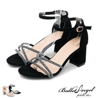 【BalletAngel】輕奢女神鑽飾繫踝粗跟涼鞋(共兩色)/
