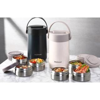 【CorelleBrands 康寧餐具】品蔚不鏽鋼保溫三層餐盒1850ml(贈 時尚保溫袋)