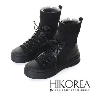 【HIKOREA】韓國來台/版型偏小。美腿經典襪套綁帶厚底軍靴(71-3185黑/現貨+預購)