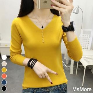 【MsMore】韓版V領鈕扣修身顯瘦純色打底針織衫#j108032現貨+預購(6色)/