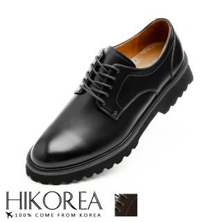 【HIKOREA】正韓製/版型正常。韓系立體線條厚底粗跟男鞋-現+預/73-440(黑)