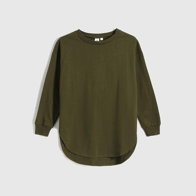 【GAP】女裝 簡約純色寬鬆式圓領長袖T恤(多色可選)