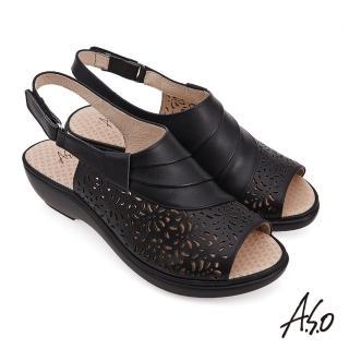 【A.S.O 阿瘦集團】時尚流行 挺麗氣墊雕花沖孔涼鞋(黑)