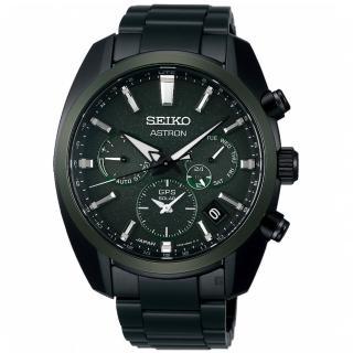 【SEIKO 精工】Astron 綠陶瓷圈 GPS衛星定位雙時區手錶(SSH079J1/5X53-0BD0G)