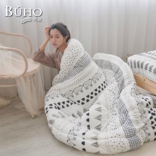 【BUHO 布歐】法蘭絨卡通動物園四件式暖暖被床包組-加大(多款任選)