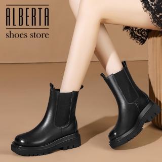 【Alberta】5CM短靴 率性百搭側面彈力針織鬆緊 筒高16CM皮革套腳圓頭厚底靴 切爾西靴 黑靴