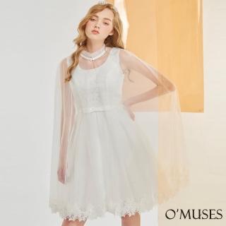 【OMUSES】兩件式蕾絲刺繡伴娘短禮服18-2041(S-2L)