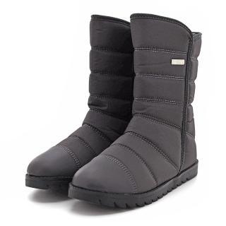 【HIKOREA】正韓製/版型偏小。防潑羽絨保暖拼接皮革內鋪毛增高厚底雪靴(71-3190灰/現貨)