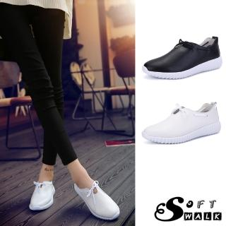 【SOFT WALK 舒步】真皮小白鞋/真皮舒適可愛穿繩蝴蝶結休閒小白鞋(2色任選)