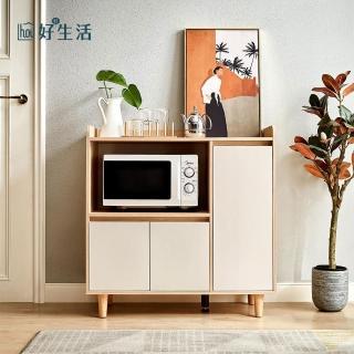 【hoi! 好好生活】林氏木業北歐風百搭0.9M餐櫃 LS187-原木色+白色