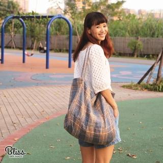 【Bliss BKK】格紋毛呢大容量手提包托特包 肩背款(時尚百搭 3色可選)